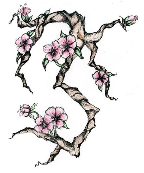Сакура - эскиз для большой татуировки