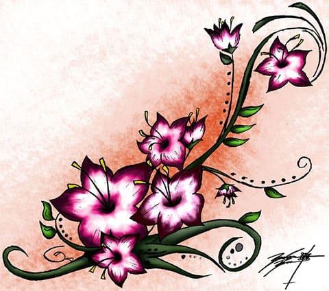 Эскиз с цветками сакуры для татуировки