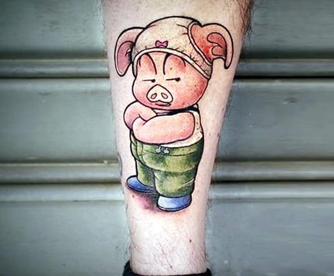 Тату мультяшной свиньи