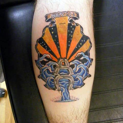 Цветная татуировка альфа и омега на ноге