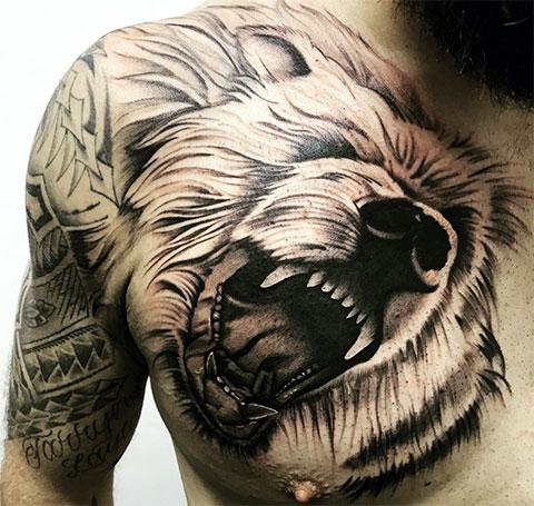 Тату оскал медведя на груди
