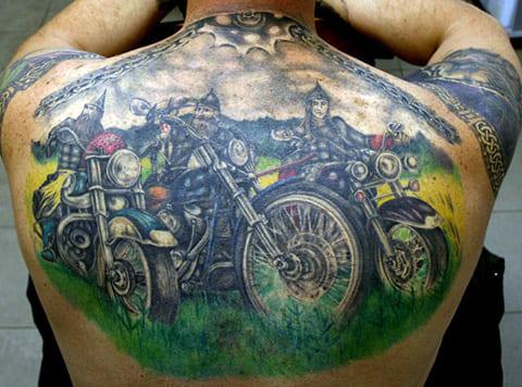 Тату три богатыря на мотоциклах