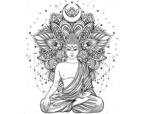 Эскиз Будда и лотос для тату