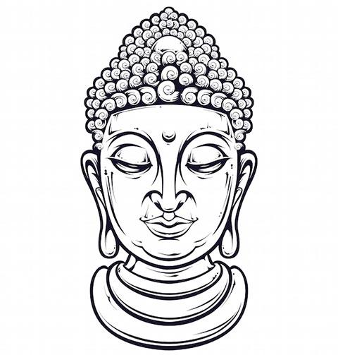 Голова Будды - эскиз для татуировки