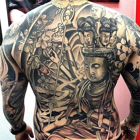 Тату Будда на спине мужская