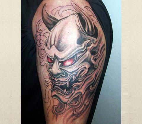 Тату японский демон Они