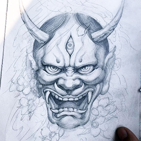 Эскиз японского демона Они для тату