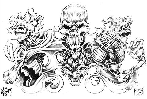 Эскиз для демонической татуировки