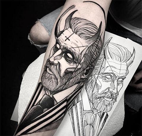 Татуировка с эскизом дьявола