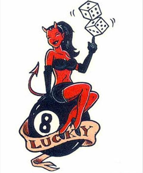 Эскиз девушки дьяволицы для тату