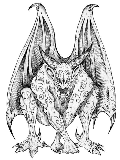 Горгулья - эскиз для татуировки
