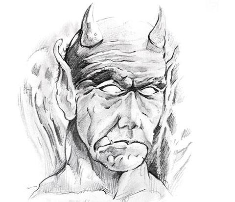 Дьявол - эскиз для тату
