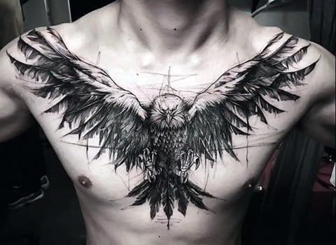 Тату орел в стиле геометрия на груди