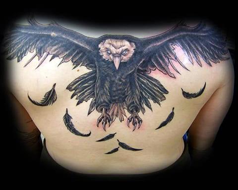 Тату орла с перьями на спине