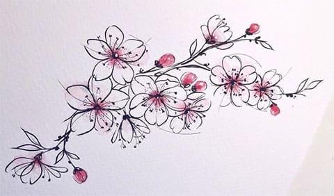 Сакура с ветвями и цветами - эскиз татуировки