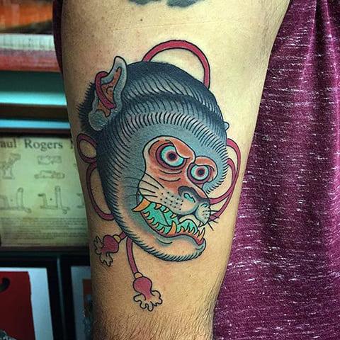 Тату морды обезьяны в азиатском стиле
