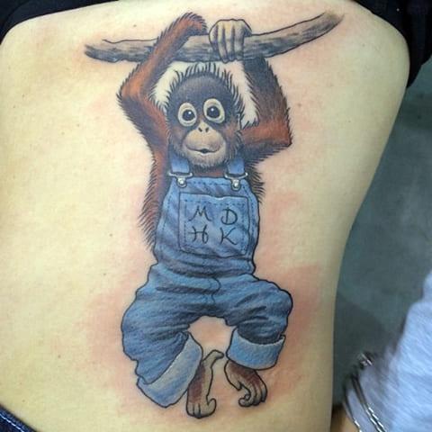 Цветная тату с обезьяной