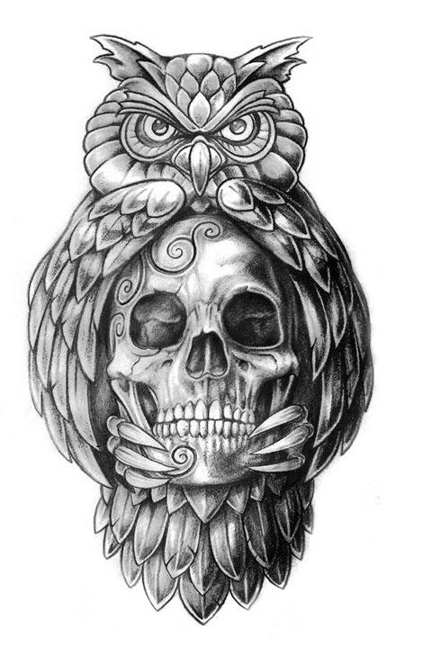Мужской эскиз для татуировки с совой