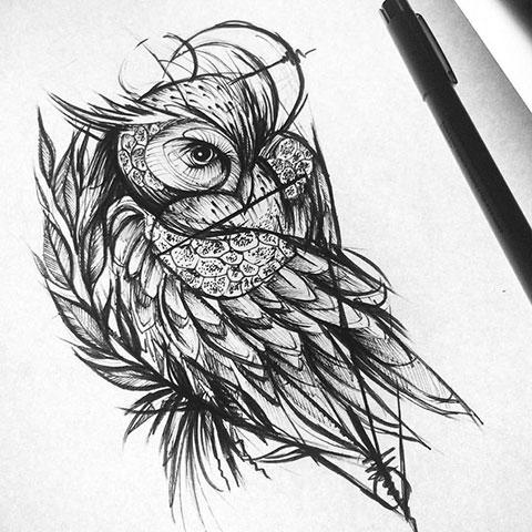 Эскиз совы для тату на руку