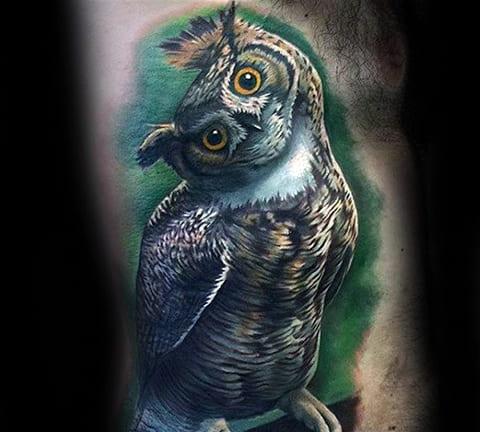 Сова - мужская татуировка