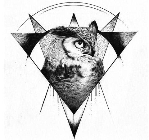 Эскиз для тату сова в треугольнике
