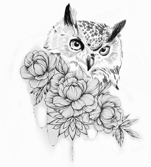 Эскиз совы для женской татуировки
