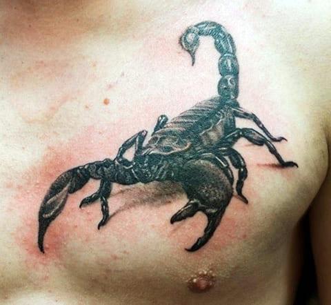 Тату со скорпионом на груди