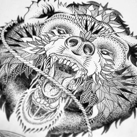 Эскиз для дотворк татуировки