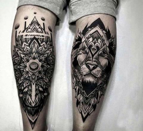 Татуировки дотворк на ногах