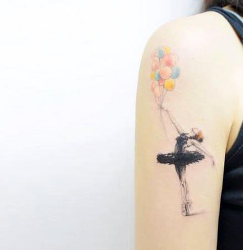 Тату балерина с шарами