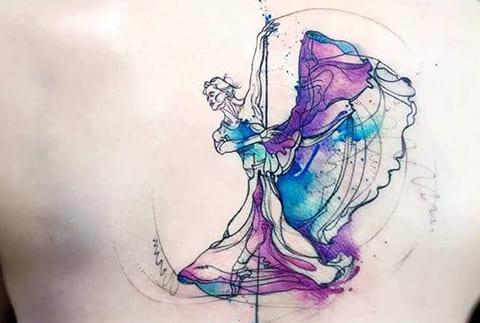 Тату балерина в стиле акварель