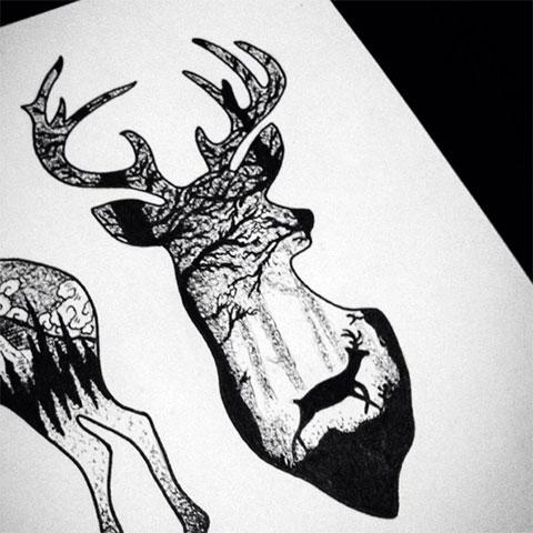 Эскиз с оленем для татуировки