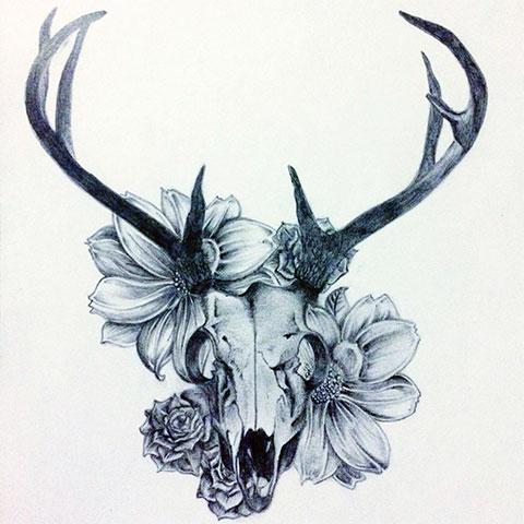Эскиз для тату череп оленя
