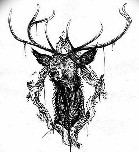 Эскиз голова оленя для тату