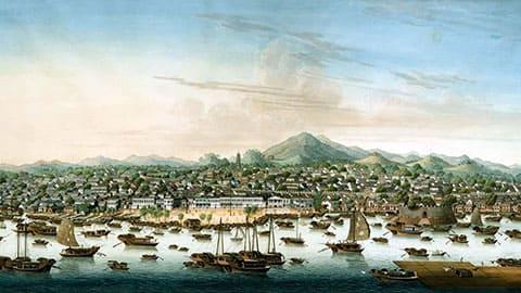 Вид на китайский город Кантон в 1800 году, где жила Чжэн Ши