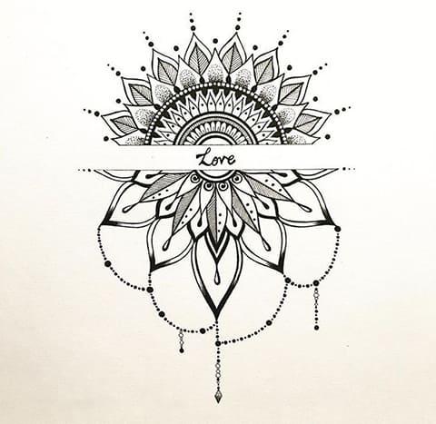 Красивый эскиз мандала с надписью для тату