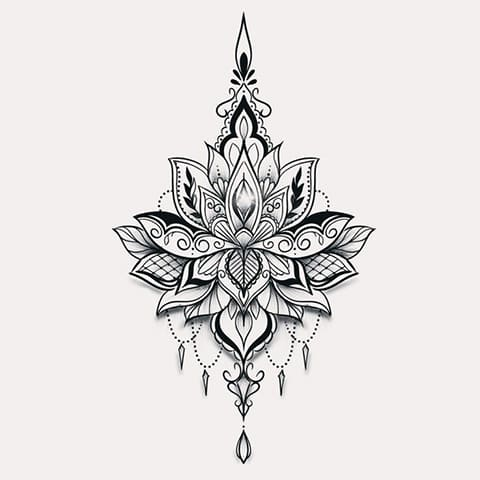 Эскиз для татуировки с мандалой