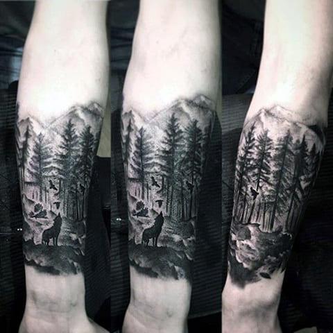 Тату блэкворк лес