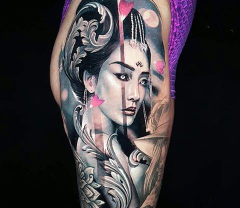 Тату гейша самурай