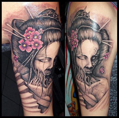Татуировка гейши на руке