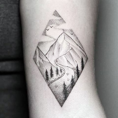 Татуировка с горами на руке - фото