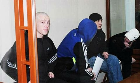 Максим Смирнов с сообщниками на суде