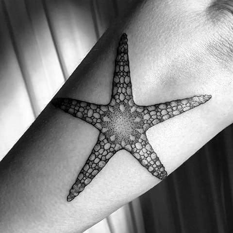Тату морская звезда - фото на руке