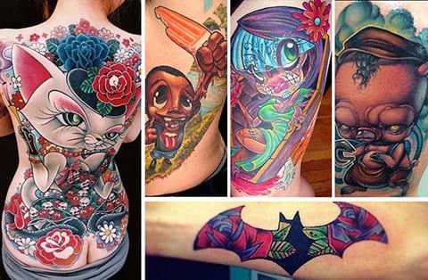 Татуировки нью скул - фото