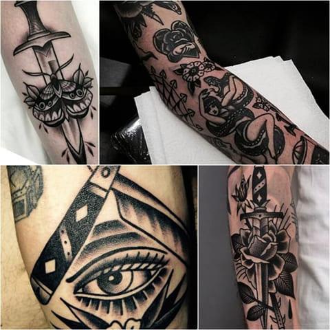 Татуировки в стиле олд скул - фото