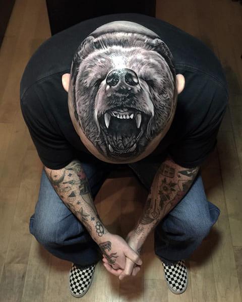 Татуировка реализм на голове