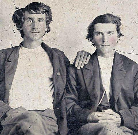 Братья Джесси и Фрэнк Джеймс в молодости