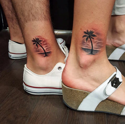 Парная тату в стиле минимализм