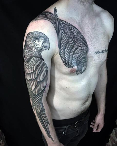 Тату попугай для мужчин