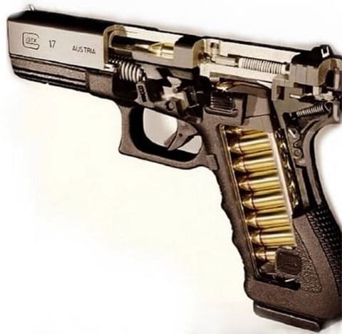 Пистолет Glock-17 в разрезе